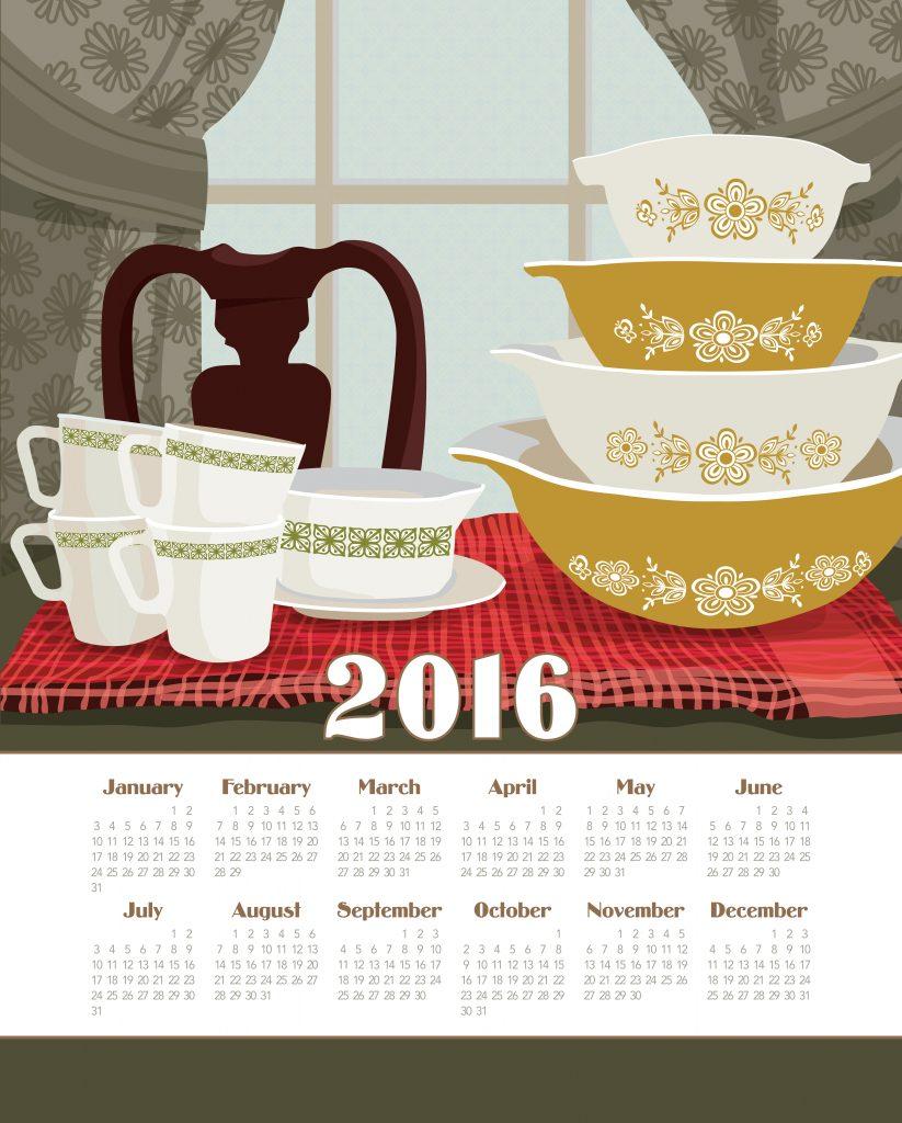 Calendar Towel - Pyrex